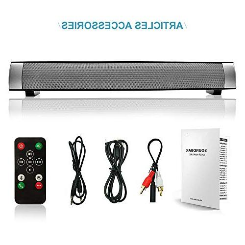 Sound and Wireless Sound Speaker Bar Bluetooth Home Silver 2.0 Remote Dual TV and