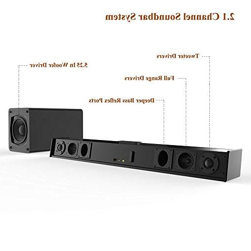 Sound Bar 2.1 Home Theater Sound Bars Sub Wired Connection Bass