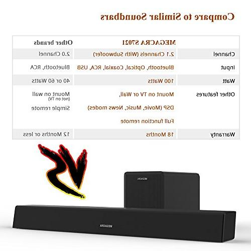 Sound Bar subwoofer, 2.1 100Watt Home Theater Sub Wired