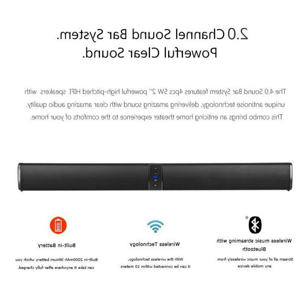 Wireless Sound Soundbar Bluetooth Theater Stereo